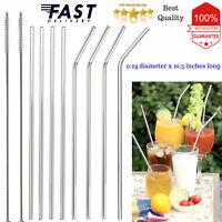 "10.5"" Reusable Stainless Steel Drinking Straws Metal for 30 Oz Yeti Tumblers USA"