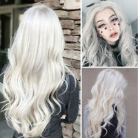 Women Platinum Color Long Wave Wig Hair Full Wig Heat Resistant Synthetic Wig/.