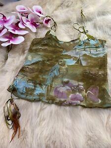 AUBADE green with tassle Camisole Top sleepwear nightwear size S