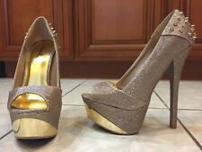 Stiletto Heels Gold  6 inch heels 2 inch Size 7 1/2  by Qupid No Box