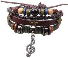 Musique Note Bracelet Bracelet Charme Bracelet TRESSE marron Love Cuir A93