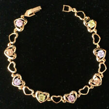 "Yellow Gold Filled Chain Gift 8"" Heart Bracelet Multi-color Cubic Zirconia Cz"