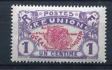 REUNION, 1907-17, timbre 56, CARTE de l' ILE, neuf**