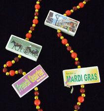 Wooden Blocks New Orleans Scenes Mardi Gras Party Beads