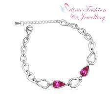 18K White Gold GP Made With Swarovski Crystal Exquisite Teardrop Purple Bracelet