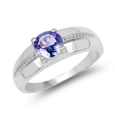 0.74 ct Genuine Tanzanite Gemstone 925 Sterling Silver Wedding Engagement Ring