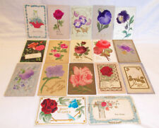 17 SILK/EMBROIDERED FLORAL FLOWER BEST WISHES POSTCARDS INCLUDES UNDIVIDED BACKS