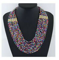 Necklace Handmade Statement Beaded Multi Color Seed Strand Chain Beads Choker