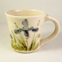 Studio Art Pottery Mug White with Blue Iris Green Leaves Wheel Thrown Handmade