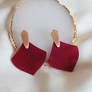 Matte Red Agate Gold-plated Earrings