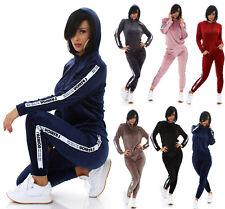 Damen Jogginganzug Hausanzug Fittnes Kapuzen Sport Anzug Samt Look Fashion