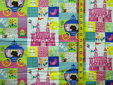 CASTLES & DOGS SWEET DREAMS ROSLYN PRINT 100% COTTON FABRIC BY THE 1/2 YARD