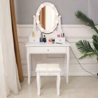 Vanity Table Set with Lighted LED Oval Mirror Makeup Dressing Table w/ 3 Drawers