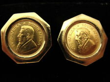 Signed Estate 1/10 oz Krugerrand 22K Gold Coin Cufflinks in 18K Gold Setting