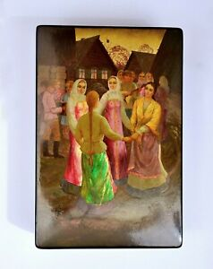 """Large Russian Fedoskino Hand Painted Lacquer Box 8""""x5"""" Peasant Lady Dancing"""