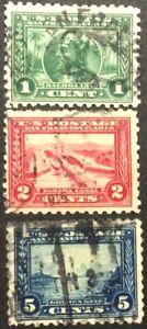 1913 1c-5c Panama-Pacific commemorative singles, Scott #401-403, Used, F-VF