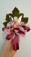 Vintage HANDMADE Christmas Corsage Decoration Angel Pink Green Flower Pin Back