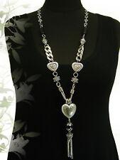 LAGENLOOK lange XXL Schmuck Halskette Bettel-Kette Charms Herz Ornament silber