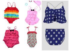 Girls Swim Costume Rainbow Ruffle 2 Piece Pretty Summer Size Years UK Seller