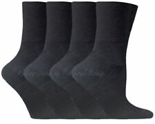 12 Pairs Mens Non Elastic Socks 100 Cotton Loose Soft Top Diabetic 6-11 Black