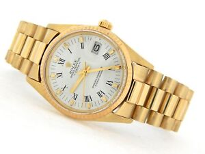 Rolex Date 1503 Men Solid 14K Yellow Gold Watch President Style Band White Dial
