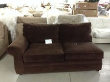 Pottery Barn Pearce Couch Sofa Sectional Espresso Velvet Brown Left Arm Loveseat