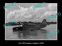 OLD POSTCARD SIZE PHOTO OF ESSO OIL COMPANY SEAPLANE c1950s