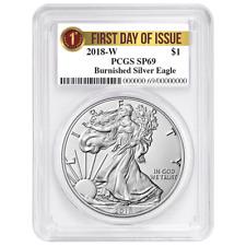 2018-W Burnished $1 American Silver Eagle PCGS SP69 FDOI First Label