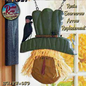 Primitive Hanging Resin Scarecrow Crow Arrow Replacement Sign Plaque Fall Hallo
