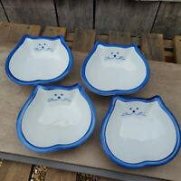 4 Ceramic Cat Shaped Dishes White and Blue Kitty Cereal Rice Bowl