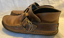 Quoddy Ring Moccasins Vibram Sole Brown Horween Leather Men's 7 Wom's 8.5 VGUC
