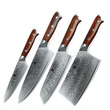 Damascus Steel Knife Set 73 Layers Blade Chef Utility Santoku Cleaver Knives Cut