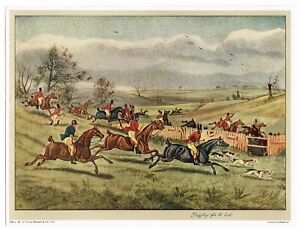 AUTHENTIC VINTAGE ART PRINT FOXHUNTING ENGLISH HORSE C1930S VIVIAN MANSELL 2