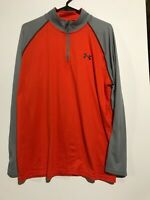 Under Armour Orange/Gray Heat Gear Loose L/S Lightweight Pullover. Men's Large