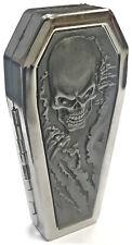 Eclipse Silver Skull Design Crushproof Metal Coffin Shaped Cigarette Case, 100s