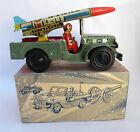 Vintage Handmade Tin Clockwork Greek  Army Missile Jeep Nikolaidis Box 1950 NOS