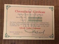 Rolex garanzia certificato cronometria COSC in inglese 1957 -warranty guarantee