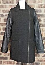 RuffHewn Grey Women's Vintage Faux Leather Sleeve Black Jacket coat Size Medium