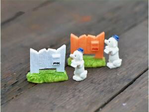 2pcs Set Miniature Mialbox Dog Puppy Postman Fairy Garden Terrarium Bonsai Model