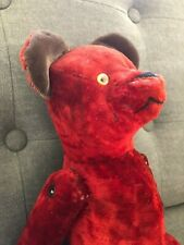 unique antique dark red teddy bear.  Glass eyes