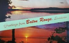 Vintage Postcard Greetings From Baton Rouge LA Sunset View on the Bayou 1960s