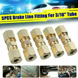 5Pcs Brass Brake Pipe Connector Tube Tubing Joiner Line Union 33mmx10mm 3/16 In