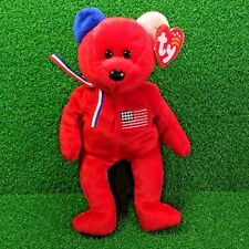 """NEW Retired Ty Beanie Baby """"America"""" USA Red Cross Toy Bear MWMT - Red Version"""