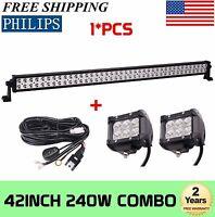 42inch 240W S/F Combo LED Light Bar Offroad GMC UTE W/ 2X 18W Pods + Wiring Kit