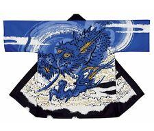 NEW HAPPI Room wear Blue Dragon Japanese Festival Coat Hanten Yukata Kimono F/S