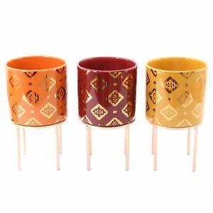 12cm Kasbah Planter Cache Pot   Indoor Ceramic Cache Plant Pot With Stand
