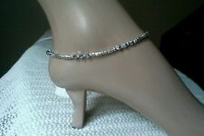 Silver crystal and tibetan silver metal anklet, ankle bracelet, any size