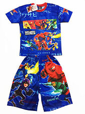 Big Hero 6 Baymax Polyester Outfit Set T-Shirt+Shorts #001 Blue Size 6 age 4-6