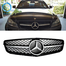 Mercedes C63 AMG Style Chrome Black Grill For C-Class Benz W204 C300 C350 08-14