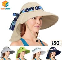 Sun Hat with Neck Flap Wide Brim Sun Protection Chin Strap for Women Ladies Cap